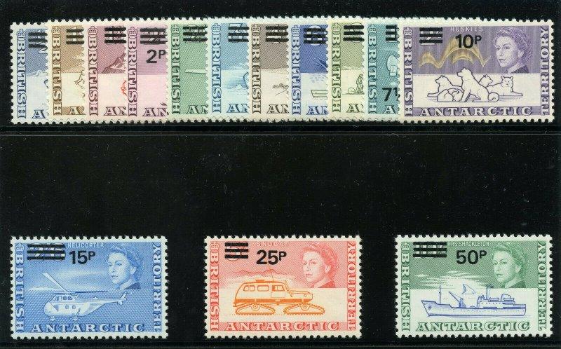 British Antarctic Territory 1971 QEII set complete MNH. SG 24-37. Sc 25-38.