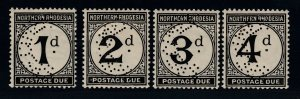 Northern Rhodesia, SG D1s-D4s, MHR Perforated Specimen variety