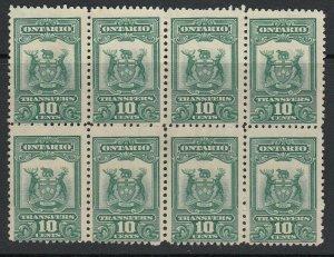 Canada, Ontario (Revenue) van Dam OST4, MNG (no gum) block of eight