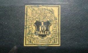 Germany-Hanover #6 used pin hole/thin e202 6751