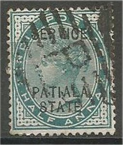 PATIALA, 1891, used 1/2a,  OFFICIAL Scott O8