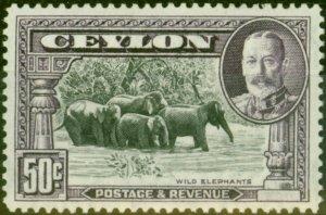 Ceylon 1936 50c Black & Mauve SG377 Fine Lightly Mtd Mint