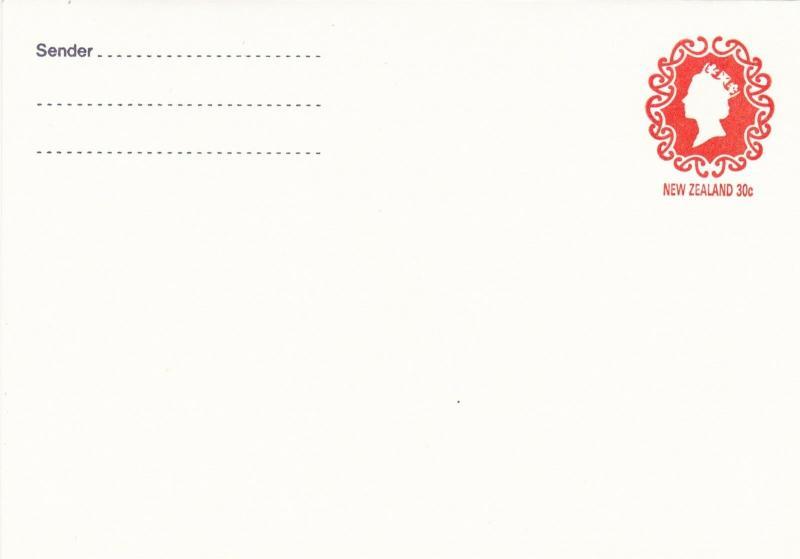 New Zealand 30c Elizabeth prepaid envelope unused VGC