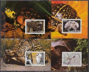 Benin, 2004 Cinderella issue. Owls on 4 s/sheets. Canceled. C.T.O.