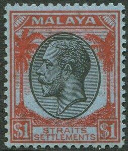 STRAITS SETTLEMENTS-1936 $1 Black & Red/Blue Sg 272 UNMOUNTED MINT V50208