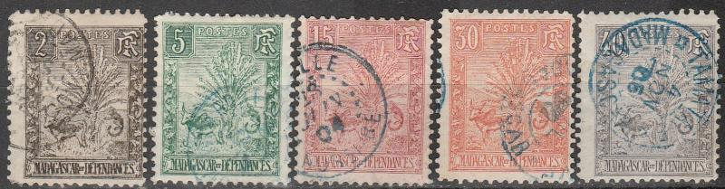 Madagascar #64, 66, 68, 71-2   F-VF  Used CV $27.35  (A11115)