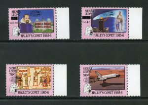 SIERRA  LEONE HALLEY'S COMET REVALUED & OVERPRINTED  SET  MINT NH