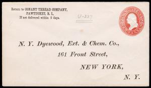 United States Scott U227 Stamped Envelope (1883) Used F-VF B