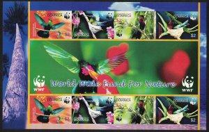 Dominica Birds WWF Caribs MS Imperf SG#MS3416 MI#3634-3637B SC#2520 a-d