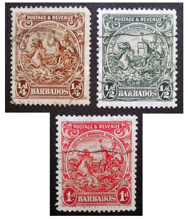 BARBADOS STAMP 1921. SCOTT # 165 - 166A - 167A. USED.