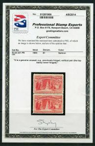 UNITED STATES $1 COLUMBIAN  SCOTT#241 MINT NEVER HINGED WITH PSE CERTIFICATE