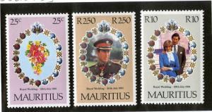 MAURITIUS 520-522 MNH SCV $2.75 BIN $1.50 ROYALTY