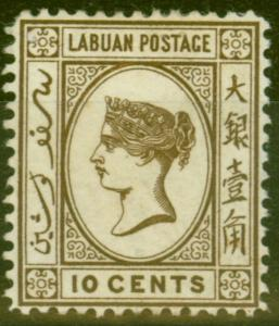 Labuan 1893 10c Sepia-Brown SG43a Fine Mounted Mint
