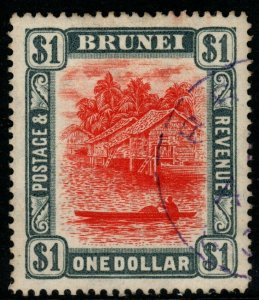 BRUNEI SG33 1907 $1 RED & GREY FINE USED