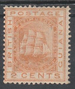 BRITISH GUIANA 1876 SHIP 2C WMK CROWN CC