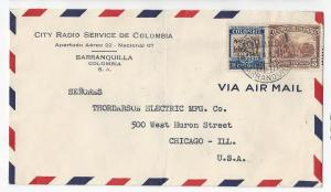 Colombia Commercial Airmail Cover to US Barranquilla 1937