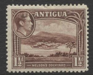 Antigua - Scott 86 - KGVI Definitive -1938- Wmk 4 - MH - Single 1.1/2p Stamp