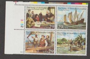 U.S. Scott #2620-2623 Christopher Columbus Stamps - Mint NH Plate Block