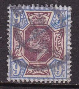 Great Britain 1902 9d dull violet King Edward VII F/VF/Used Partial CDS