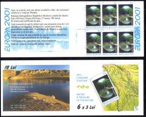 Moldova Sc# 376a MNH Complete Booklet 2001 Europa