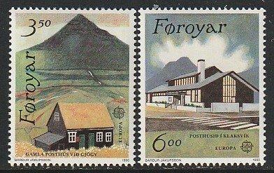1990 Faroe Islands - Sc 205-6 - MNH VF - 2 single - Post Offices