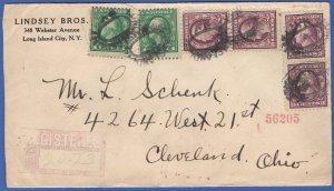 US 1920 Reg. 14c rate cover The American Hinge Label on Reg. cover NYC > Ohio