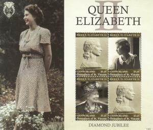 Union Island St Vincent Stamps 2013 MNH Queen Elizabeth II Diamond Jubilee 4v MS
