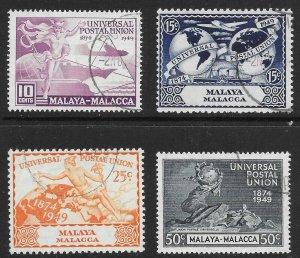 MALAYA MALACCA SG18/21 1949 U.P.U. SET USED