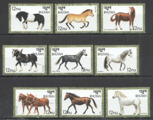 Bhutan MNH Set Of 9 Horses 2018