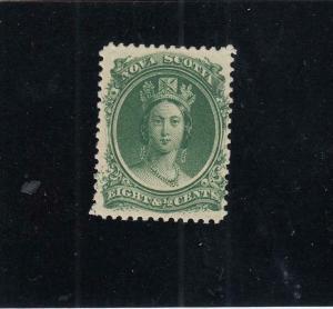 NOVA SCOTIA # 11 VF-MNH  81/2cts  QUEEN VICTORIA /GREEN  1860-63 CAT VALUE $40+