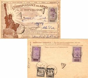 French Sudan Upper Senegal and Niger 1c (2) and 2c Camel Rider 1919 Kati, Ht....
