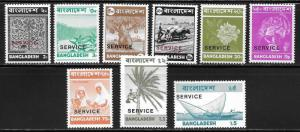 Bangladesh o1-6, 8, 12, 14 Various part set MNH