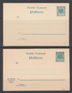 Germany Mi P25, P27, unused. 1890 10pf Postal cards, 2 diff, Postal & Reply Card