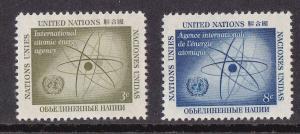UN - NY # 59-60, Atomic Energy Agency, Mint NH, 1/2 Cat.