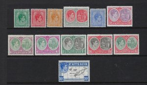 ST. KITTS-NEVIS SCOTT #79-89 1938-48 GEORGE VI SHORT SET- MINT LIGHT HINGED
