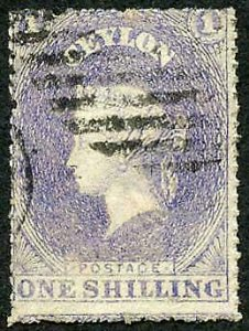 Ceylon SG35 1/- Slate Violet wmk Star Rough Perf 14 to 15.5 Cat 18 pounds