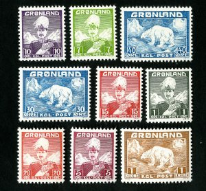 Greenland Stamps # 1-9 VF OG NH Catalog Value $110.00