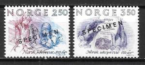 Norway 848-49 Weekley Press Anniv. set MNH SPECIMEN