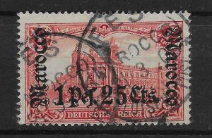 GERMAN P.O.'s IN MOROCCO SG35 1905 1p25 ON 1m CARMINE p26x17 USED