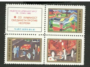 MACEDONIA-MNH** BLOCK OF 4 STAMPS, 20 - RED CROSS--1993. (115)