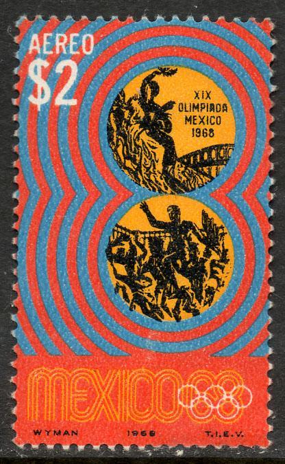 MEXICO C342, $2Pesos 1968 Olympics, Mexico City. MNINT, NH. VF.