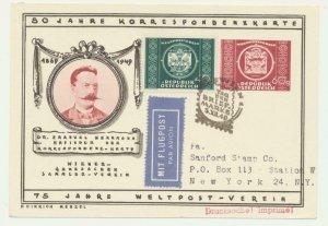 AUSTRIA 1949 (3.12) UPU CARD, ILLUSTRATED TO USA