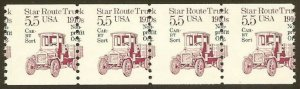2125a - Misperf Error / EFO Strip of 4 Star Route Truck Mint NH