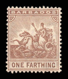 Barbados 1909 ¼d brown Seal of Colony wmk MCCA SG 163 mint