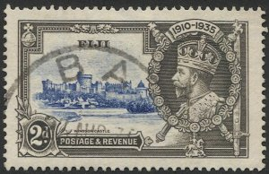 FIJI 1935  2d KGV  Sc 111 Used VF, Silver Jubilee, Ba (town) postmark/cancel