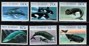 NEW ZEALAND 936-941 MNH WHALES SET 1988