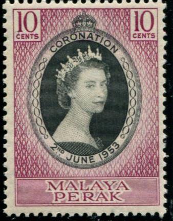 MALAYA-PERAK 126 Mint OG 1953 Coronation