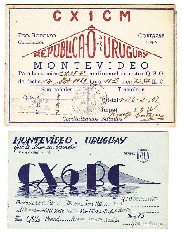 URUGUAY x2 QSL RADIO CARDS LIGHTHOUSE TOPIC - postally used interesting