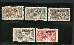 GREAT BRITAIN MOROCCO AGENCIES GEO V  SCOTT#217/17b 218/9 SG#50/51 51c 53/4 MINT