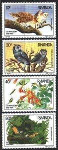 Rwanda. 1985. 1310-13. Owls, birds, fauna, Odabon. MNH.